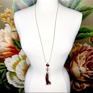FREE Loft Tassel Beaded Pendant Gold Tone Necklace